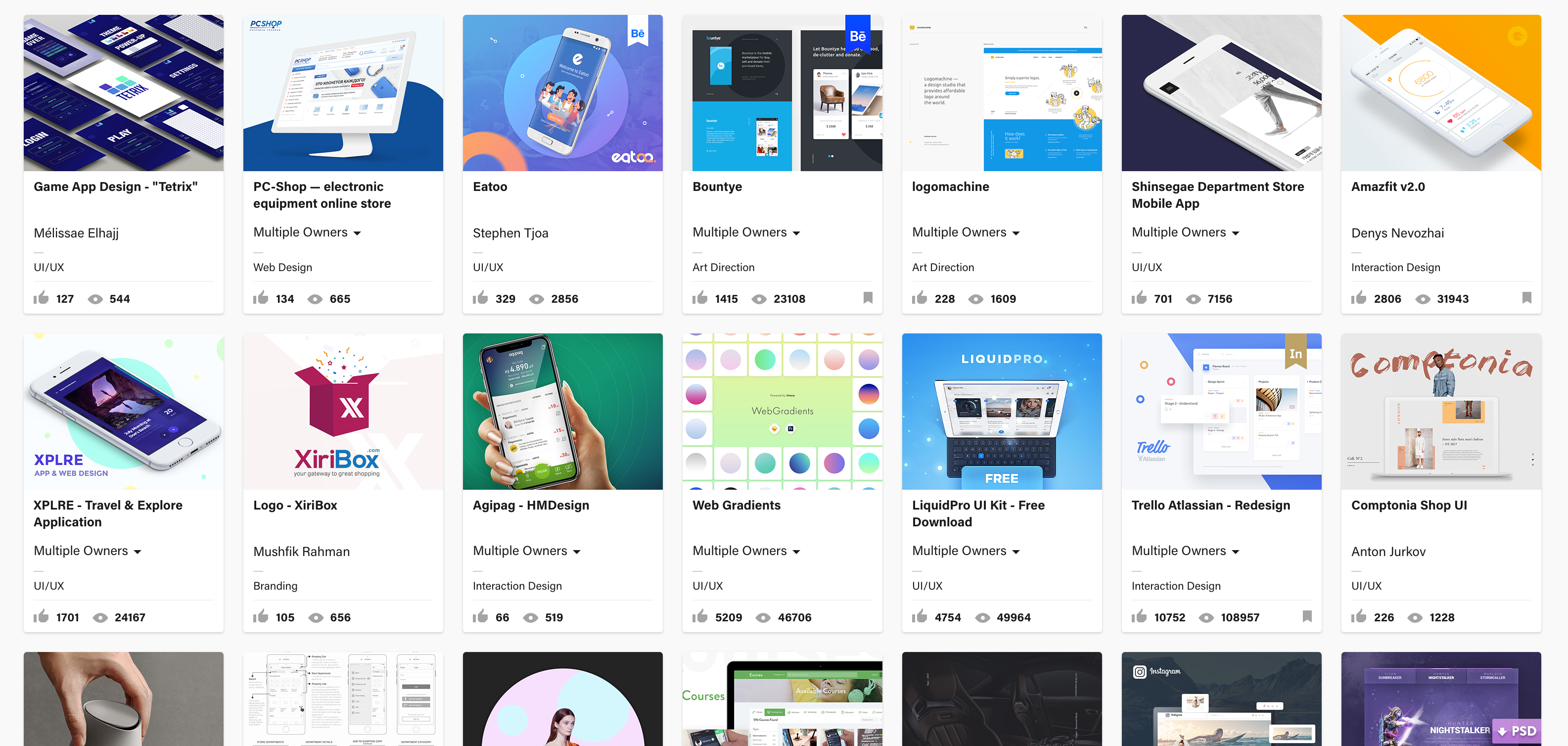 Behance UI/UX design front page